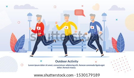 Outdoor Activity for Aged People Motivate Poster. Cartoon Happy Old Senior Men Running Marathon. Grey-Haired Smiling Male Characters in Sportswear Jogging. Active Health Life. Vector Flat Illustration
