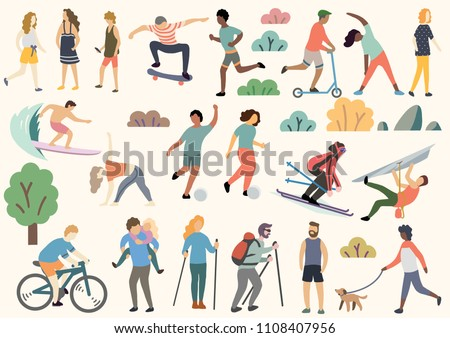 Outdoor activity illustration, doodle, drawing, vector - Shutterstock ID 1108407956