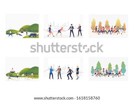 Outdoor activity set. Active people exercising in park, running marathon. Flat vector illustrations. Lifestyle, body training, competitions concept for banner, website design or landing web page