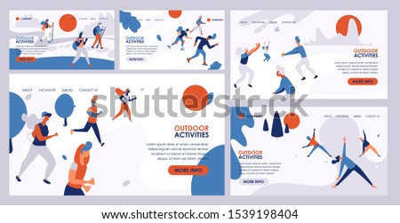 Outdoor activity vector active people hiking training jogging illustration web page background set of man woman character. Summer activities healthy sport lifestyle outdoors backdrop web-site.