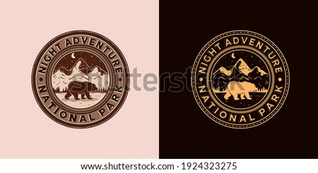 Outdoor Adventure Logo Vector Illustration Design. Exclusive Vintage Style Adventure Logo Design. Vintage Old Style of Night Adventure Logo Emblem. Night, Bear and Mountain Logo Concept Inspiration