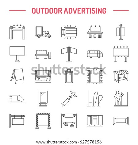 Outdoor advertising, commercial and marketing flat line icons. Billboard, street signboard, transit ads, posters banner and other promotion design element. Grey color. Trade objects thin linear sign. - Shutterstock ID 627578156