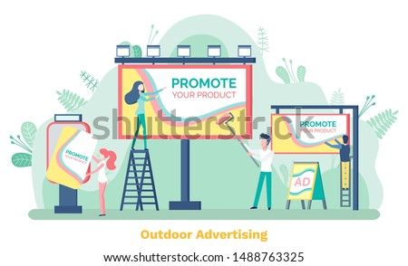 Outdoor advertising, promote your product. Man and woman standing on stairs near billboard or ad poster, public information on board, advertisement. Vector illustration in flat cartoon style