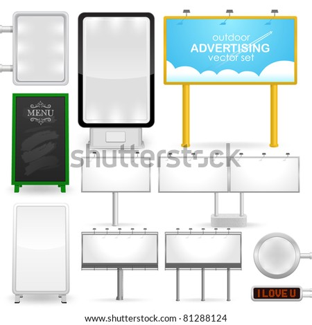 outdoor advertising, various billboards, standard size, detailed vector illustration