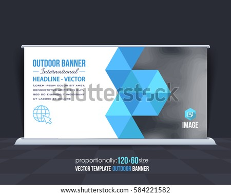 Outdoor Banner Vector Background. Advertising Corporate Cover Design with Image Add Feature, Business Elements and Print Ready Flat Style Out Door Ad or Website Horizontal Template