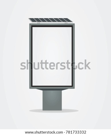 Outdoor banner with solar panel. vector illustration