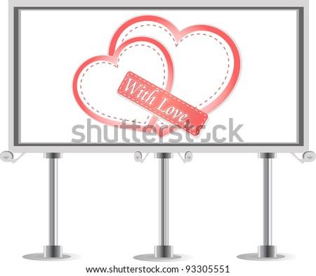 Outdoor billboard with heart. Love Vector theme