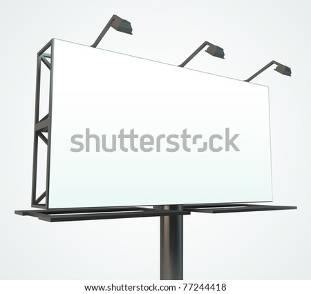 Outdoor blank billboard. Vector Illustration.