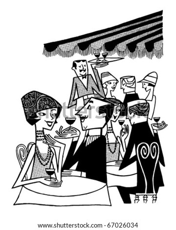 Outdoor Cafe Scene - Retro Clipart Illustration
