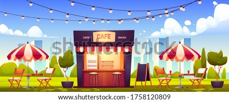 Outdoor cafe, summer booth in park, coffeehouse stall with street food drinks and snacks, cafeteria with table, chairs, umbrella, plants, lighting garland and menu board, Cartoon vector illustration