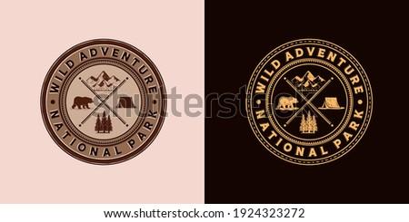 Outdoor Camp Adventure Logo Illustration Design. Exclusive Vintage Style Adventure Logo Design. Outdoor Camp Logo Emblem in Vintage Old Style. Bear, Camp, Mountain and Pine Logo Concept Inspiration