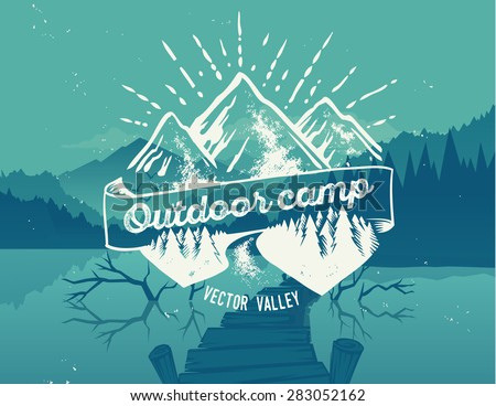 outdoor camp typography design