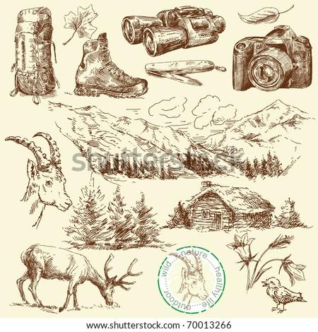 outdoor collection-original hand drawn set