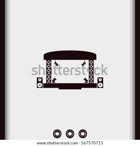 Outdoor concert stage vector icon. Simple flat music equipment pictogram. Podium  symbol.