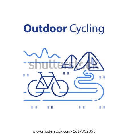 Outdoor cycling concept, riding bicycle trip, nature tourism, summer camping, recreational park, vector line illustration