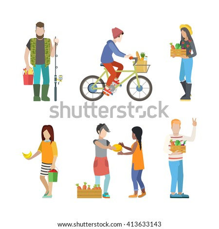 Outdoor farm countryside activity young people flat web infographic concept vector icon set. Fisherman greengrocery cycling farm market product seller customer buyer. Creative people collection.
