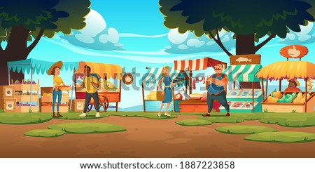 Outdoor farm market with stalls, vendors and clients at summer day. Fair booths, wooden kiosks with ecological products. Counters for street trading, city retail place, cartoon vector illustration
