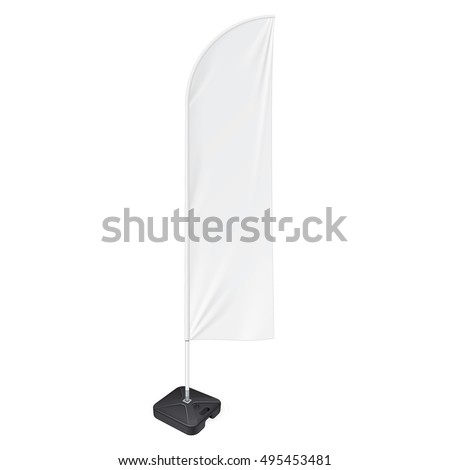 Outdoor Feather Flag With Ground Fillable Water Base Stand. Banner Shield Mock Up, Template. Illustration Isolated On White Background. Ready For Your Design. Product Advertising. Vector #495453481