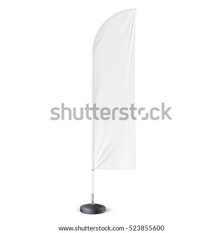 Outdoor Feather Flag With Ground Fillable Water Base Stand. Banner Shield Mock Up, Template. Illustration Isolated On White Background. Ready For Your Design. Product Advertising. Vector EPS10 #523855600