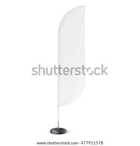 Outdoor Feather Flag With Ground Fillable Water Base, Stander Advertising Banner Shield.Mock Up, Template. Illustration Isolated On White Background. Ready For Your Design. Product Advertising. Vector