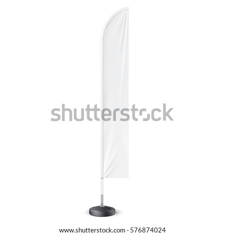 Outdoor Feather Flag With Ground Fillable Water Base, Stander Advertising Banner Shield.Mock Up, Template. Illustration Isolated On White Background. Ready For Your Design. Product Advertising. Vector #576874024