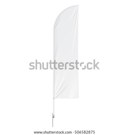 Outdoor Feather Flag With Ground Spike, Stander Banner Shield. Mock Up On White Background Isolated. Ready For Your Design. Product Advertising. Vector EPS10 #506582875