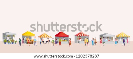 Outdoor festival with food trucks, awnings, tents, ice cream, coffee, hot dog, flowers, bakery, walking people, men and women buying and selling goods at park autumn. Flat cartoon vector illustration