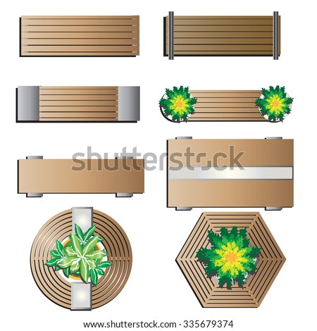 Outdoor Furniture Bench Top View For Landscape Design Set 5 Vector