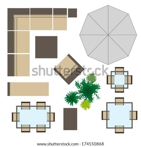outdoor furniture for landscape design - Garden Furniture Top View Psd