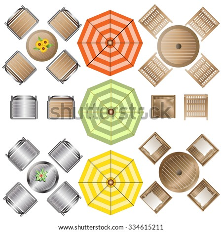 vector illustration outdoor furniture top view set 1 for landscape design - Garden Furniture Top View Psd