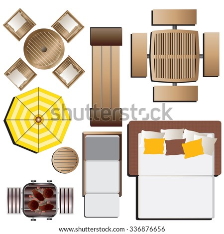 outdoor furniture top view set 15 for landscape design vector illustration - Garden Furniture Top View