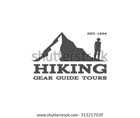 Outdoor, hiking, travel badge, label. Tourism emblem. Can be used as logo for camping shop, mountain equipment store, trekking club. Adventure logotype in monochrome design. Vector illustration