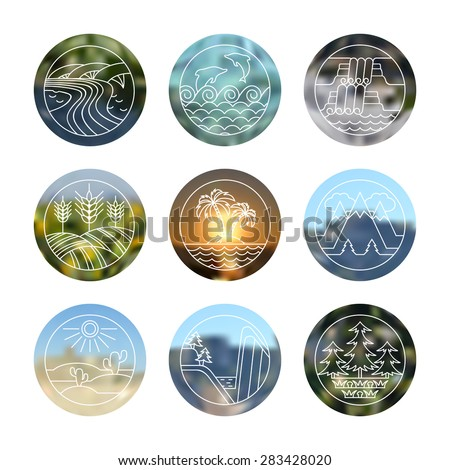 Outdoor icons set. Different types of landscapes: canyon, desert, river, sea, island, field, waterfall, forest, mountain. Line icons with blurred  background