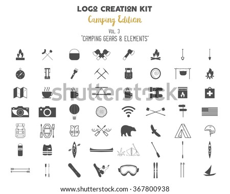 outdoor icons set hiking and