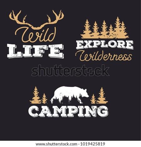 Outdoor icons, wildlife badges,  exploration labels in vintage style. Explore wilderness, camping, wild life with trees, bear, deer antlers. White and beige vector.