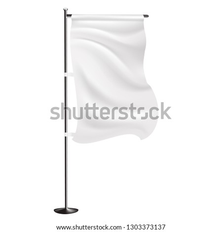 Outdoor/Indoor 3D white panel feather Flag on Isolated white background. Mock-up realistic style vector template ready for design #1303373137