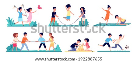 Outdoor kids games. Isolated child play, fun activities on nature. Hopscotch, cartoon girl catch butterfly on playground utter vector set Photo stock ©