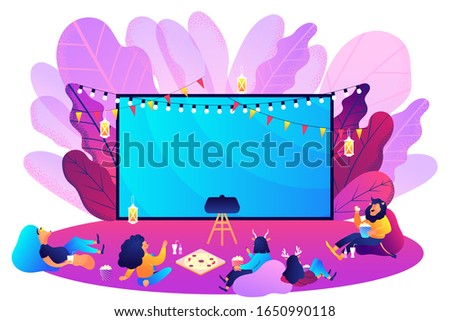 Outdoor movie theater. Bright vibrant violet. Movie night with friends. Watching film on big screen with sound system. Open air cinema, backyard theater gear concept. Vector isolated illustration
