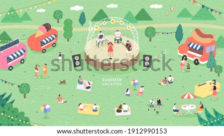 outdoor music festival concept illustration. People have picnic in park. People sits on green grass, eats on picnic, spend summer weekend outdoors.