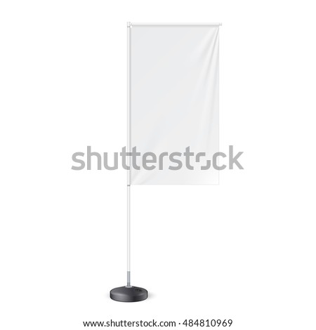 Outdoor Panel Flag With Ground Fillable Water Base, Stander Advertising Banner Shield. Mock Up, Template. Illustration Isolated On White Background. Ready For Your Design. Product Advertising. Vector. #484810969