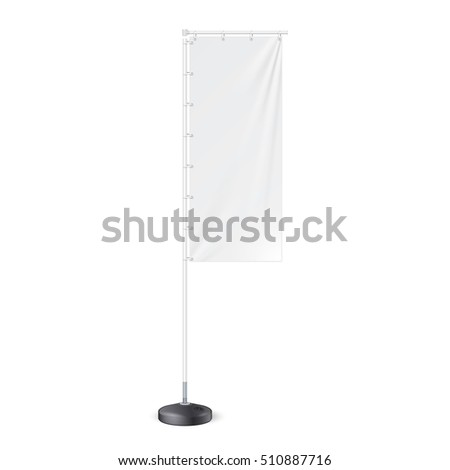 Outdoor Panel Flag With Ground Fillable Water Base, Stander Advertising Banner Shield. Mock Up, Template. Illustration Isolated On White Background. Ready For Your Design. Product Advertising. Vector. #510887716