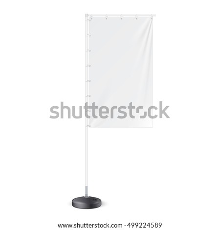 Outdoor Panel Flag With Ground Fillable Water Base, Stander Banner Shield. Mock Up, Template. Illustration Isolated On White Background. Ready For Your Design. Product Advertising. Vector. #499224589