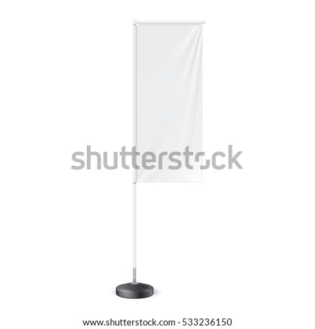 Outdoor Panel Flag With Ground Fillable Water Base, Stander Banner Shield. Mock Up, Template. Illustration Isolated On White Background. Ready For Your Design. Product Advertising. Vector. #533236150