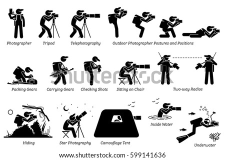 Outdoor photographer photography gears. An adventurous photographer taking pictures with different postures at outdoor. Including star photography, camouflage tent, wildlife, and underwater pictures.