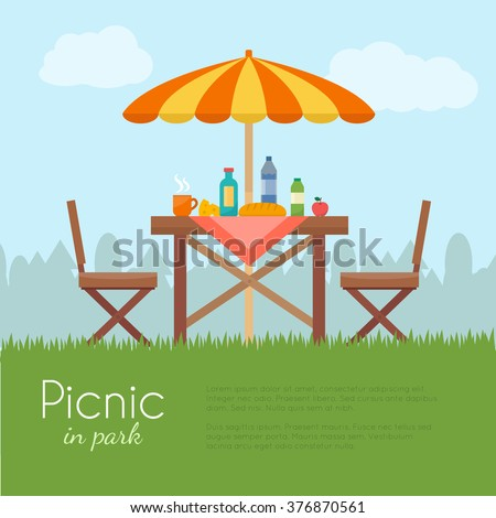outdoor picnic in park table