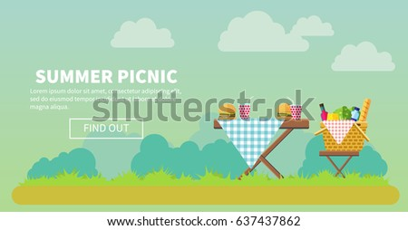 Outdoor picnic in park vector flat illustration. Table covered with tartan cloth with chairs. Hamburgers and drinks on the table. Picnic basket filled with food on the chair. Copyspace on the left.