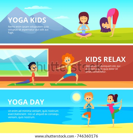 Outdoor pictures of kids making different yoga exercises. Vector banners with place for your text. Yoga exercise for kids girl and boy illustration