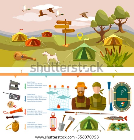 Outdoor recreation infographics. Fishing, hunting, camping. Tourism and hike infographics. Outdoor presentation design