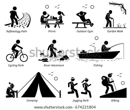 Outdoor Recreation Recreational Lifestyle and Activities. Pictogram depicts reflexology path, picnic, outdoor gym, garden walk, cycling park, river adventure, fishing, camping, jogging, and hiking.  - Shutterstock ID 674221804
