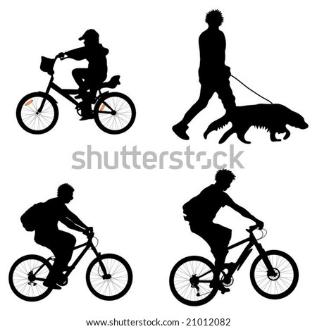 Outdoor recreation vectors (cyclists and man walking dog)